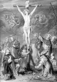 Christ crucified adored by Dominican Saints